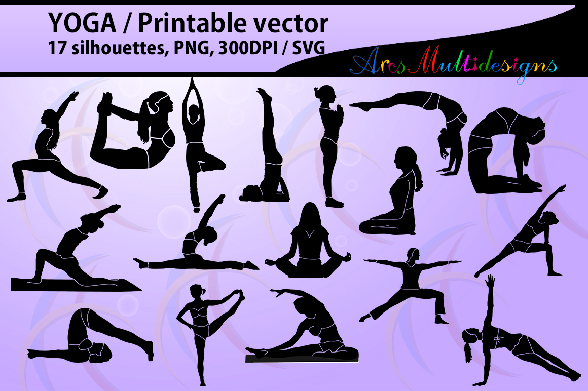 Print on Demand: Yoga Shapes Silhouette Vector Graphic Illustrations By Arcs Multidesigns