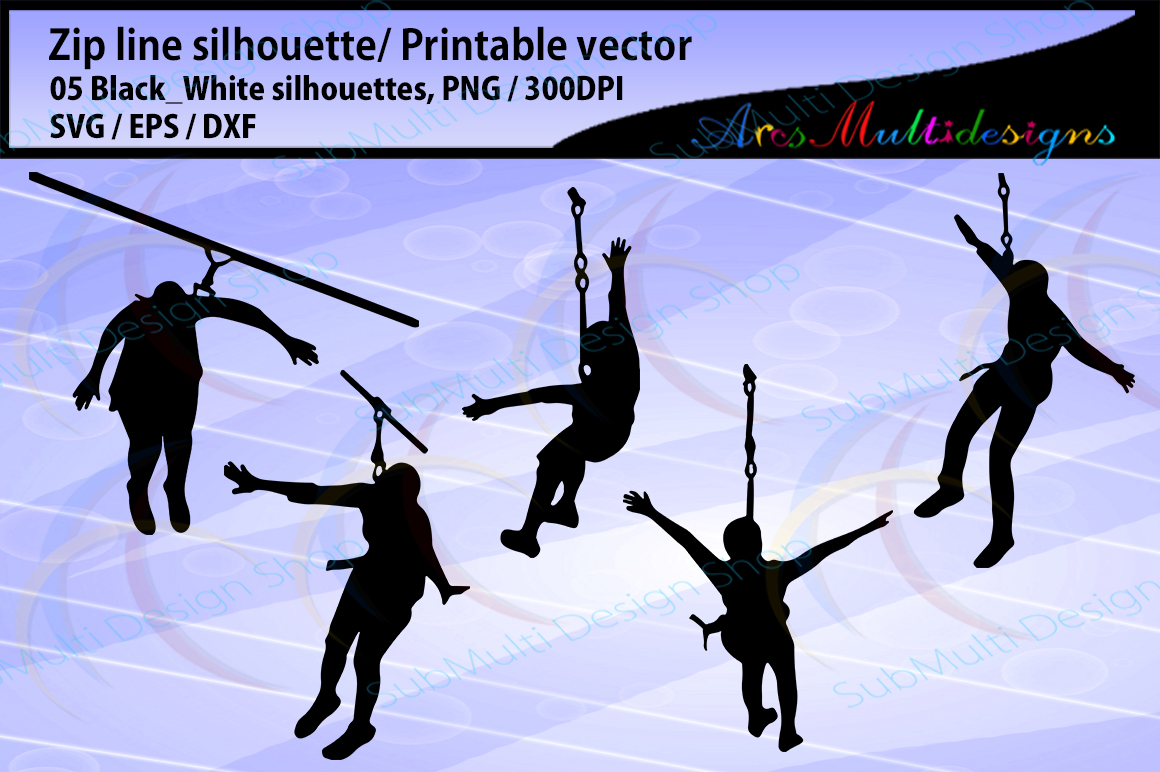 Print on Demand: Zip Line Silhouette Graphic Crafts By Arcs Multidesigns