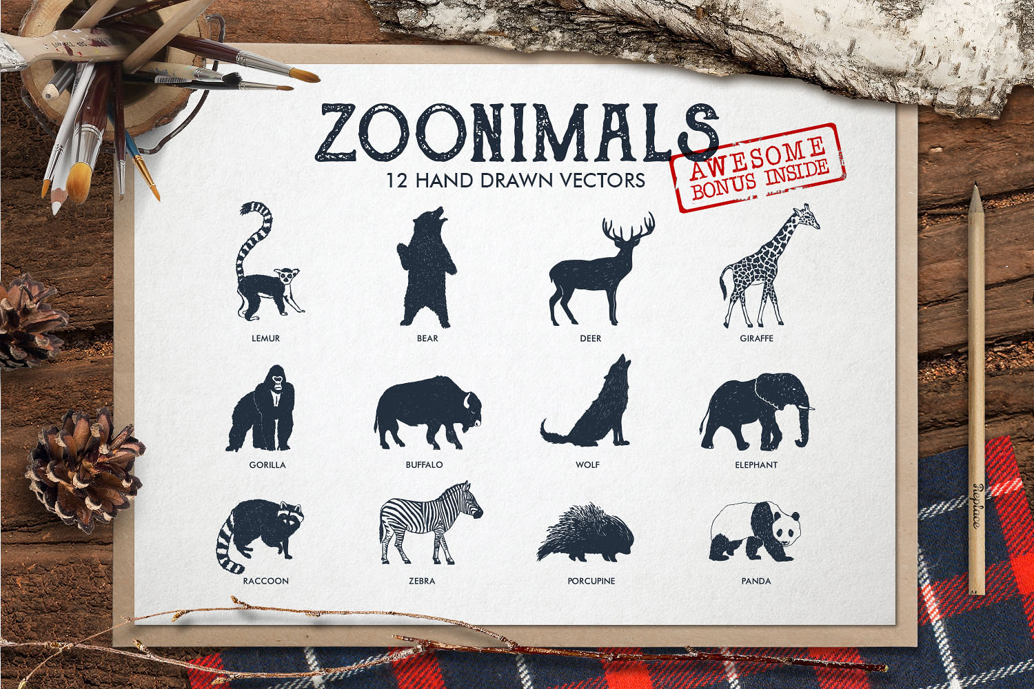 Print on Demand: Zoonimals - Set with Hand Drawn Zoo Animals Graphic Illustrations By Cosmic Store
