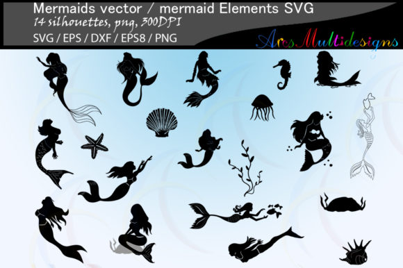 Print on Demand: Mermaid Silhouette Graphic Crafts By Arcs Multidesigns
