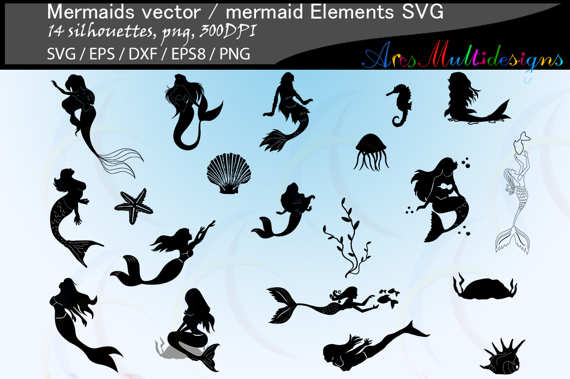 Download Free Mermaid Silhouette Graphic By Arcs Multidesigns Creative Fabrica for Cricut Explore, Silhouette and other cutting machines.