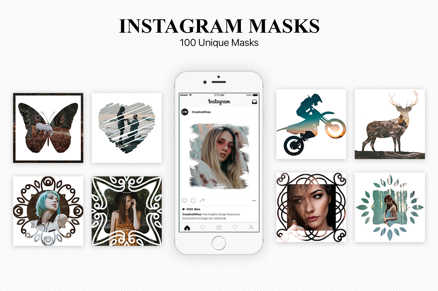 Download Free 100 Instagram Masks Psd Templates Graphic By Creative Tacos for Cricut Explore, Silhouette and other cutting machines.