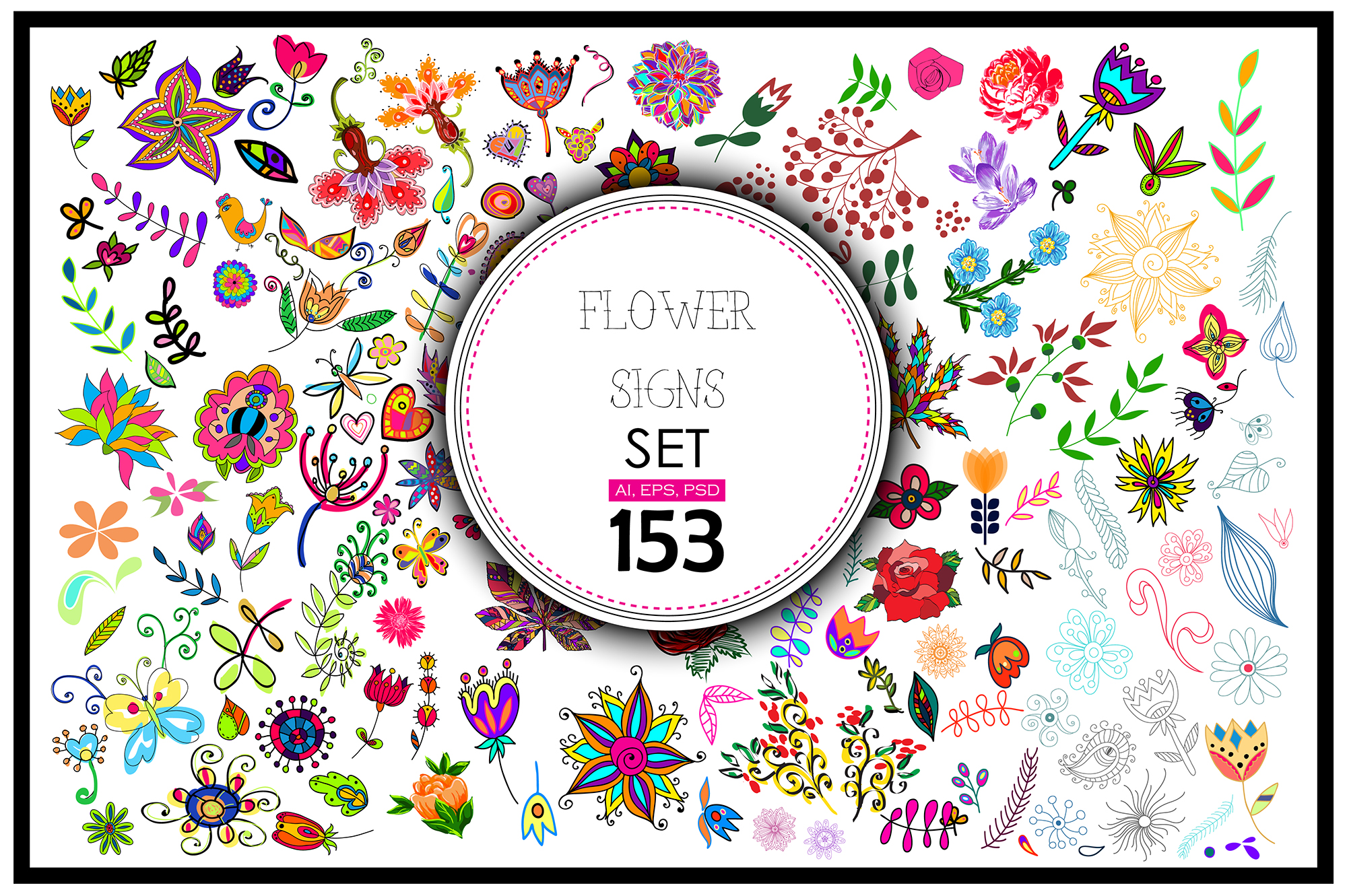 153 Vector Floral Signs Set + BONUS Graphic Illustrations By alisared87