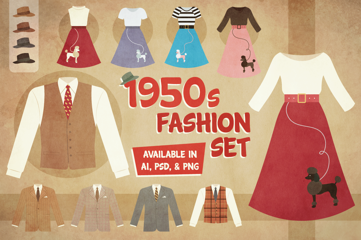 1950s Fashion Set Graphic Illustrations By The Stock Croc