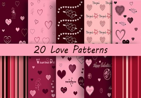 20 Love Patterns Graphic By Creative Fabrica Freebies