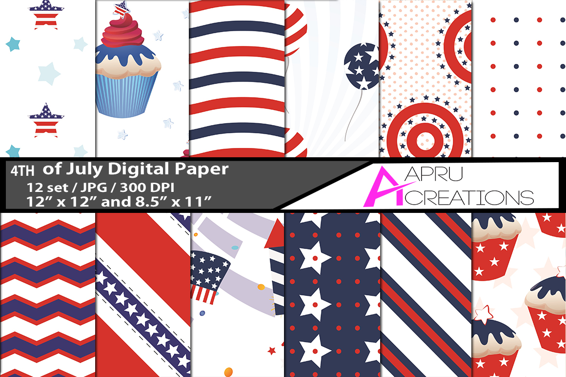 Print on Demand: 4th of July Digital Papers Graphic Patterns By aparnastjp