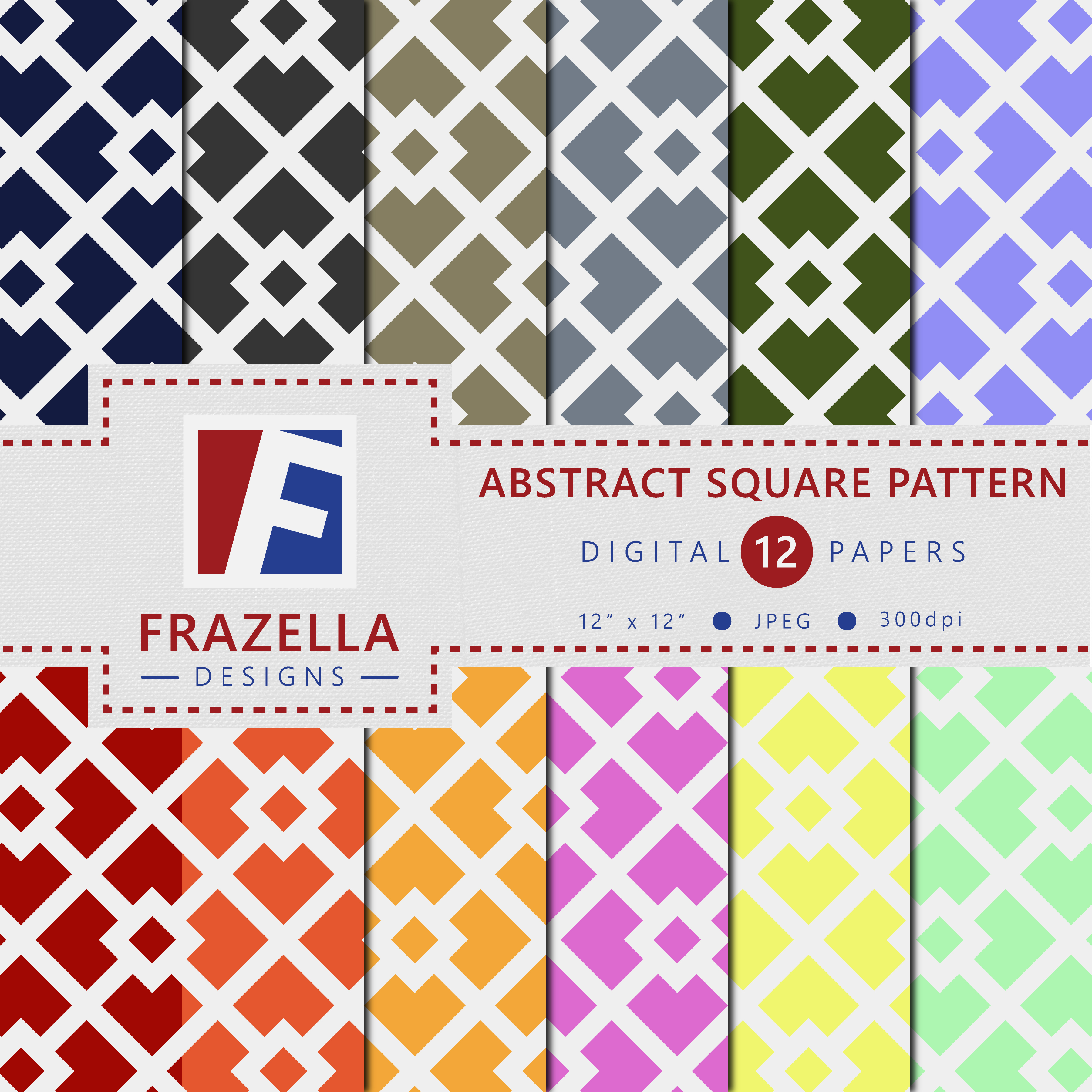 Download Free Abstract Square Pattern Digital Paper Collection Graphic By for Cricut Explore, Silhouette and other cutting machines.