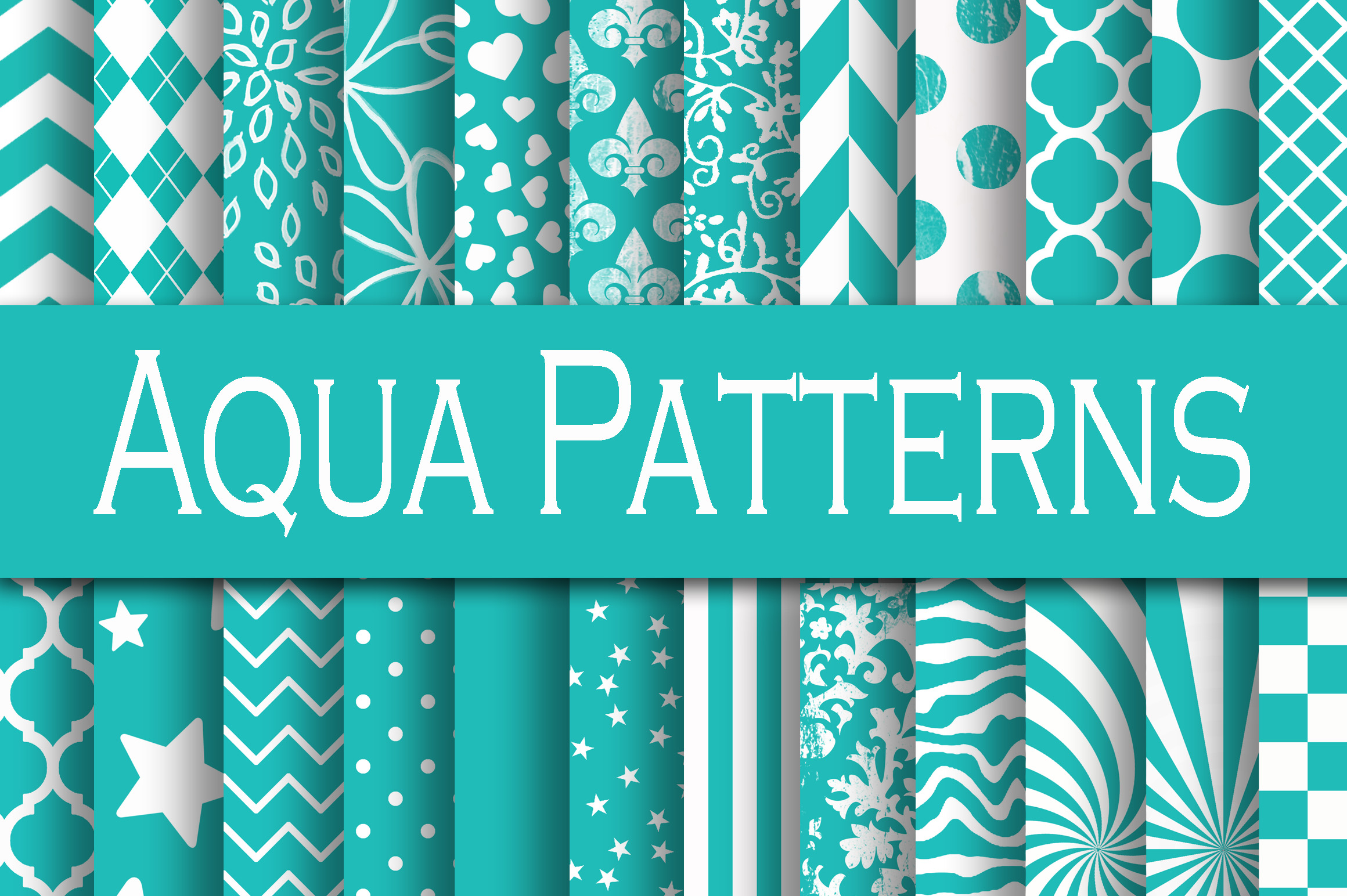 Aqua Patterns Digital Paper Graphic Backgrounds By oldmarketdesigns - Image 1