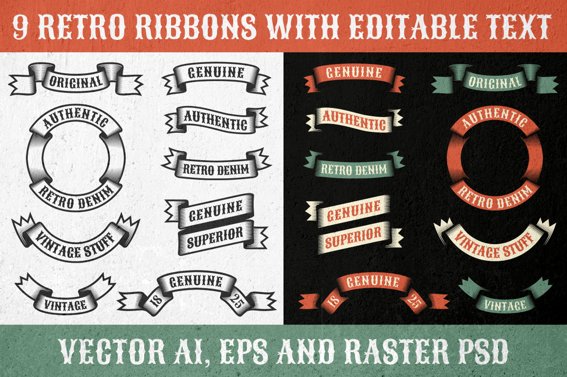 Authentic Retro Ribbons Graphic By Agor2012
