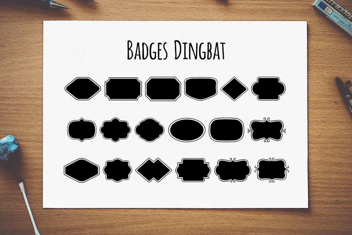 Print on Demand: Badges Dingbat Dingbats Font By LebahStudio