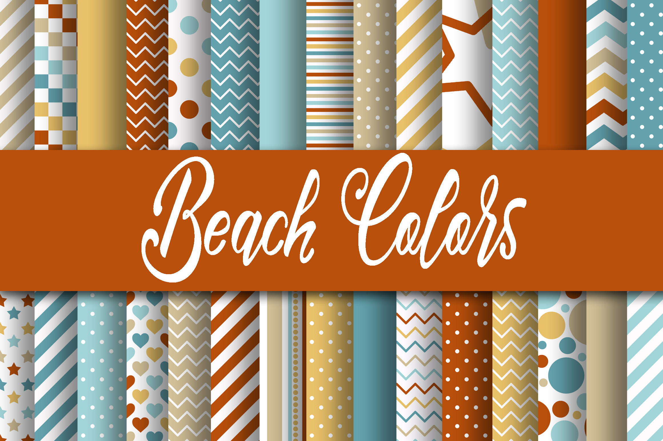 Beach Colors Digital Paper Graphic By oldmarketdesigns