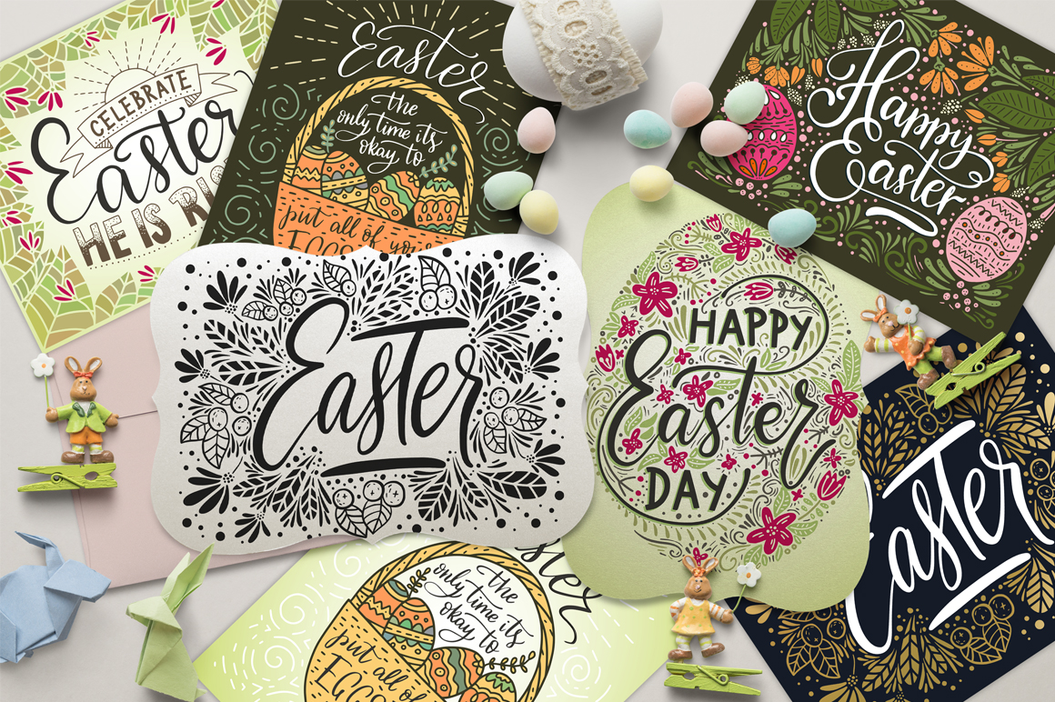 Print on Demand: Big Easter Set, 303 Elements. Graphic Illustrations By Red Ink - Image 2