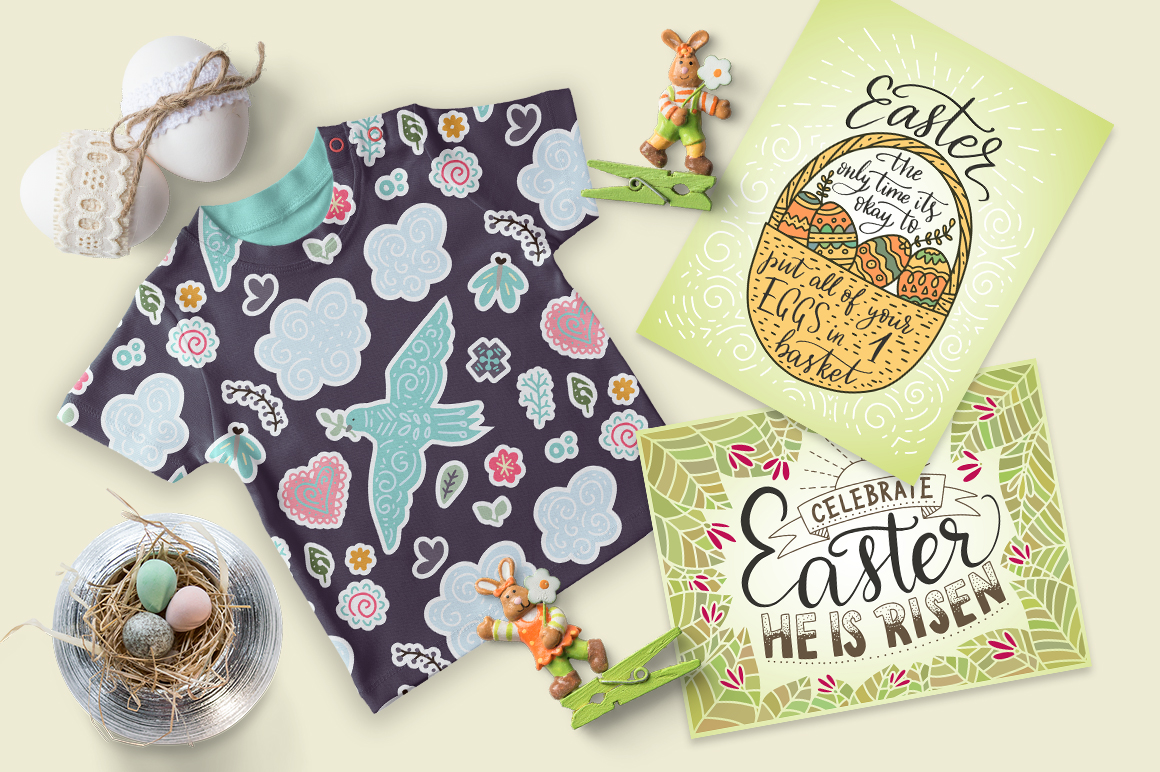 Print on Demand: Big Easter Set, 303 Elements. Graphic Illustrations By Red Ink - Image 11