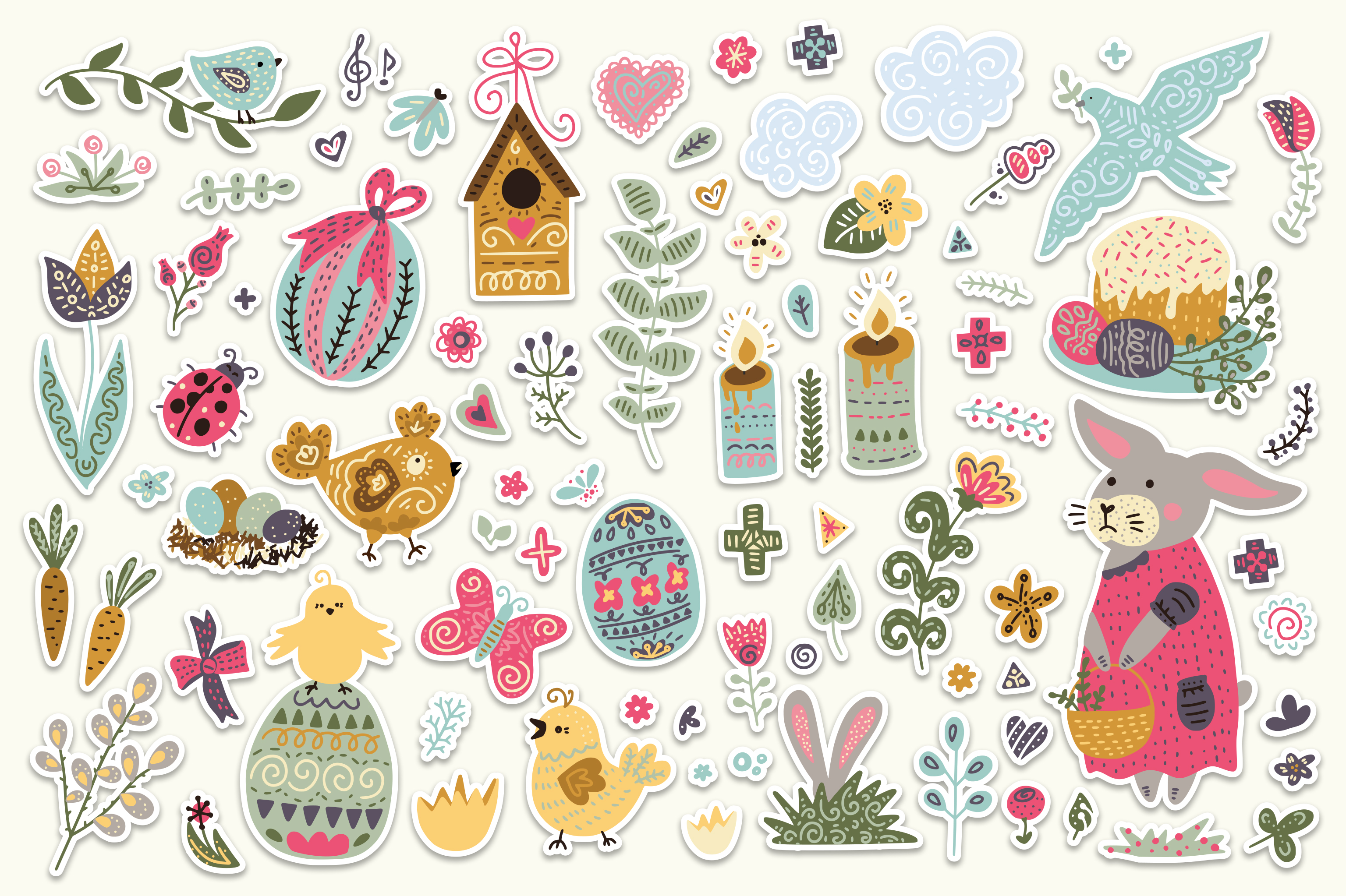 Print on Demand: Big Easter Set, 303 Elements. Graphic Illustrations By Red Ink - Image 3