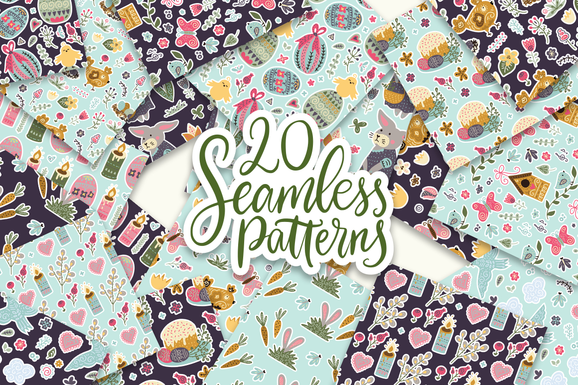 Print on Demand: Big Easter Set, 303 Elements. Graphic Illustrations By Red Ink - Image 5