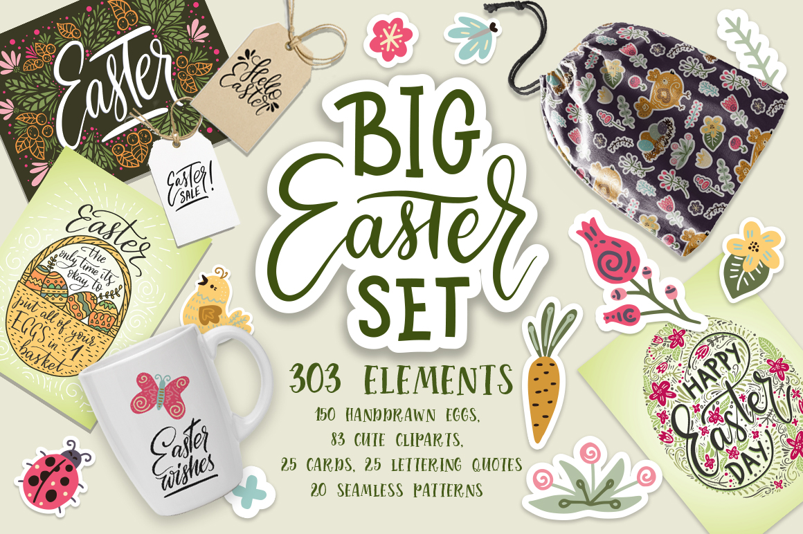 Big Easter Set, 303 Elements. Graphic By Red Ink