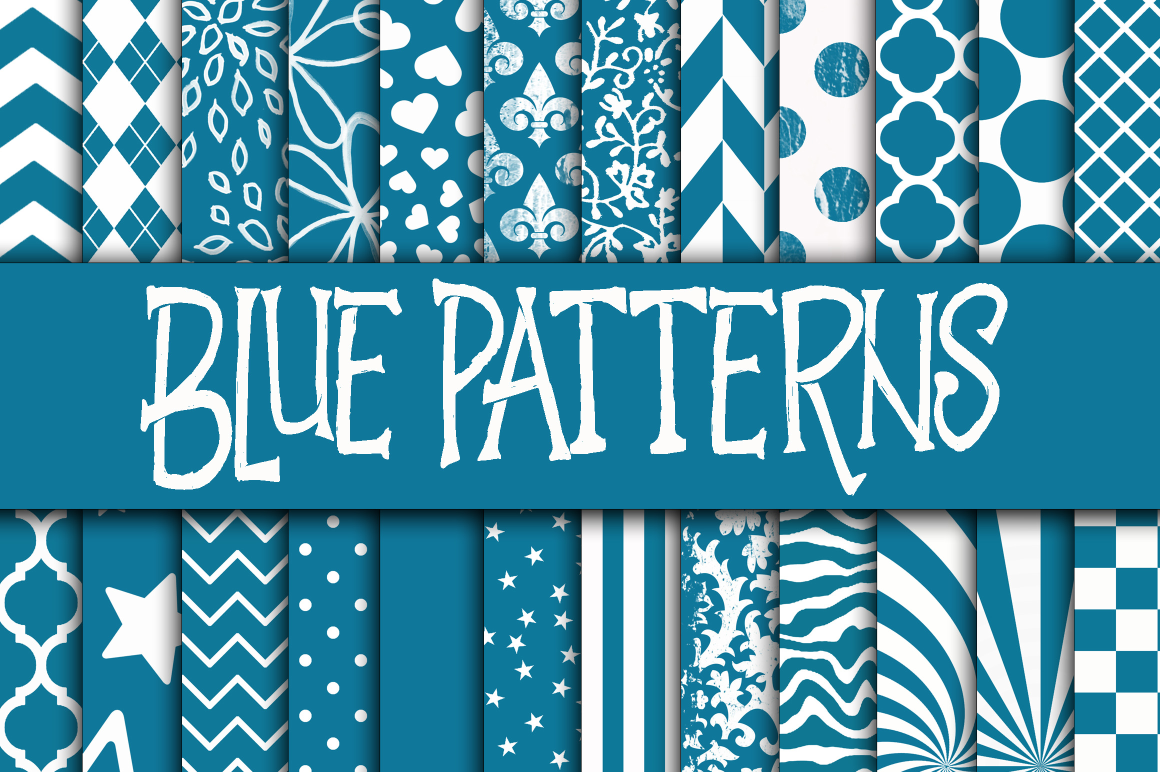 Print on Demand: Blue Patterns Digital Paper Graphic Backgrounds By oldmarketdesigns - Image 1