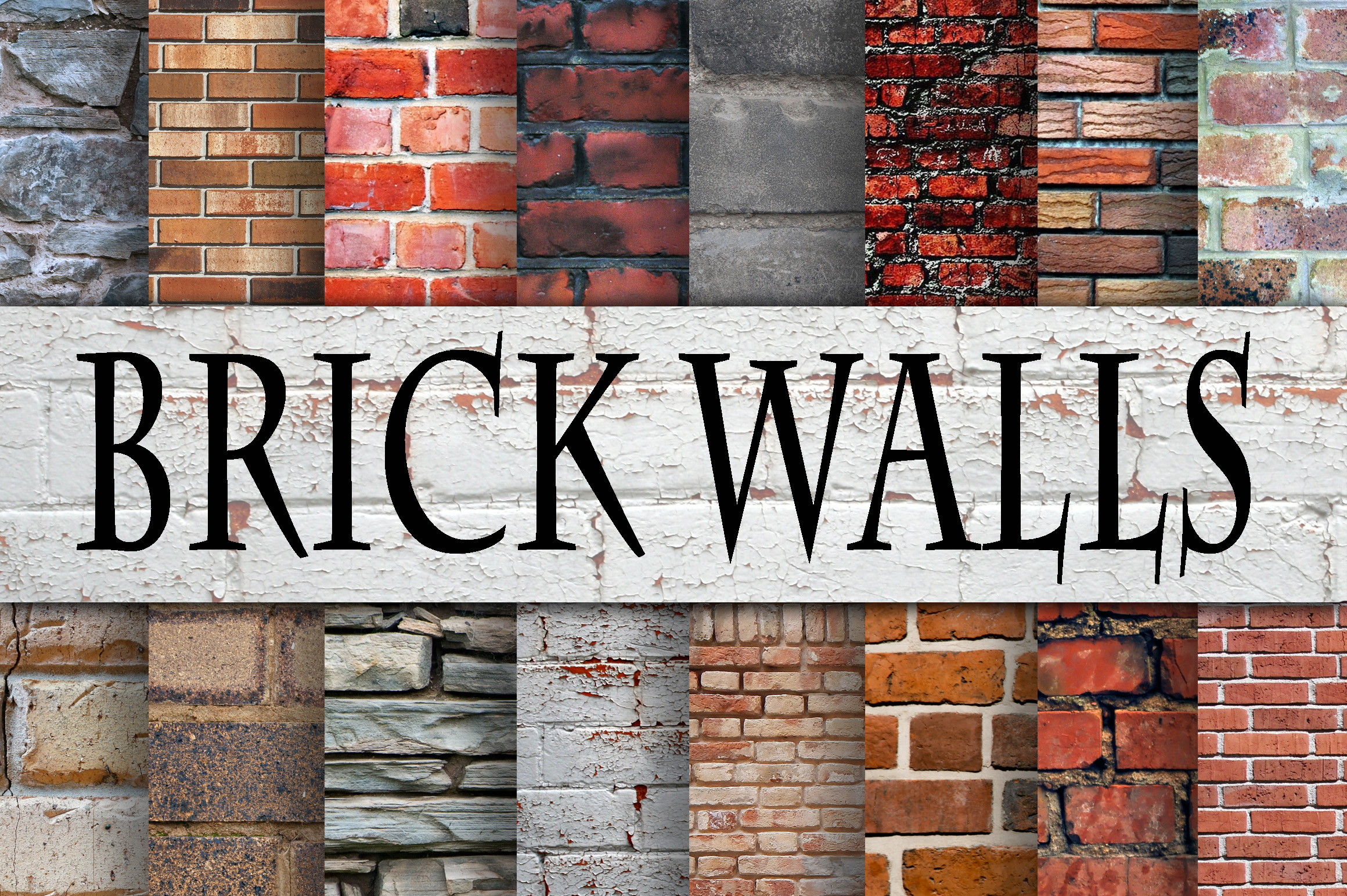 Print on Demand: Brick Wall Digital Paper Textures Graphic Backgrounds By oldmarketdesigns