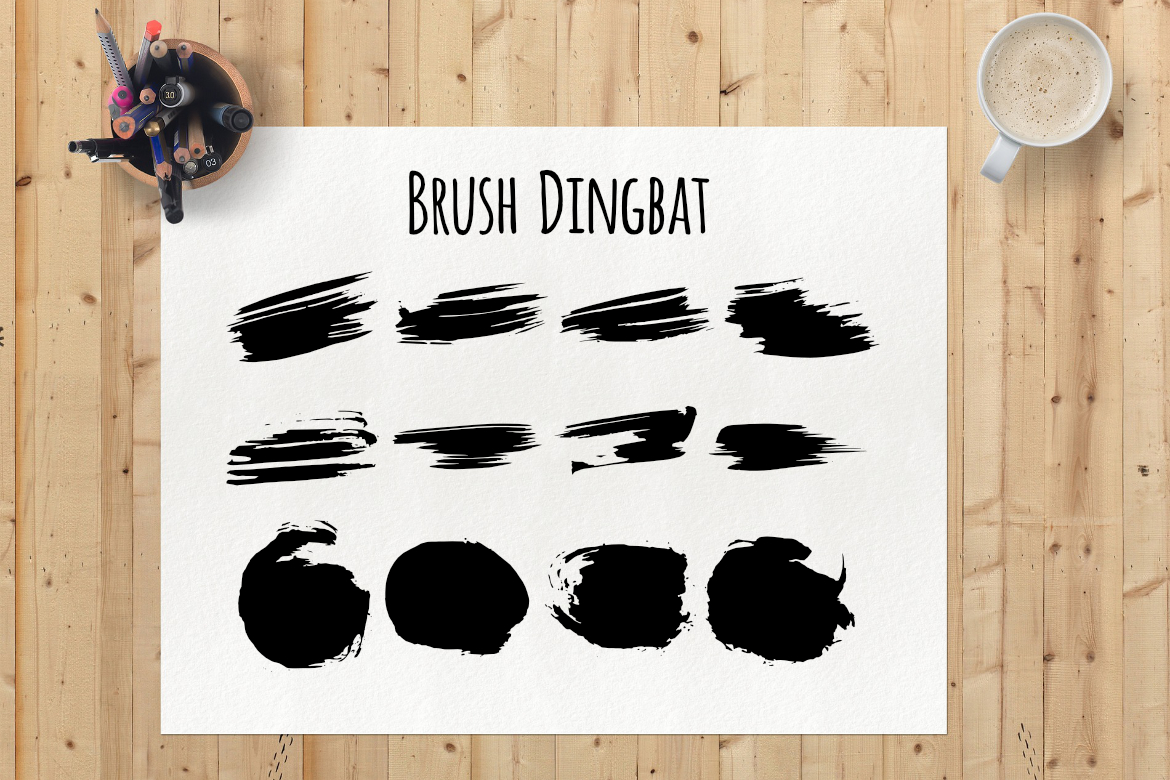Brush Dingbat Font By LebahStudio
