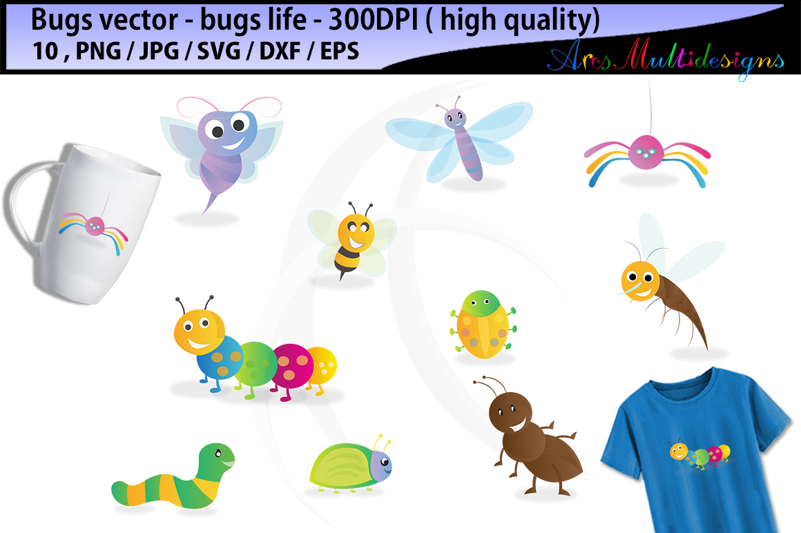 Print on Demand: Bugs Clipart Graphic Illustrations By Arcs Multidesigns