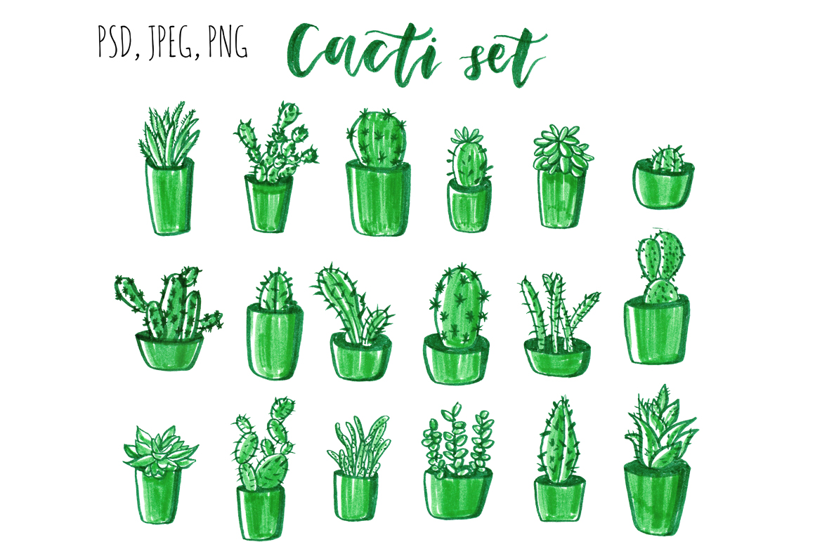 Download Free Cacti Hand Drawn Set Grafico Por Alisared87 Creative Fabrica for Cricut Explore, Silhouette and other cutting machines.