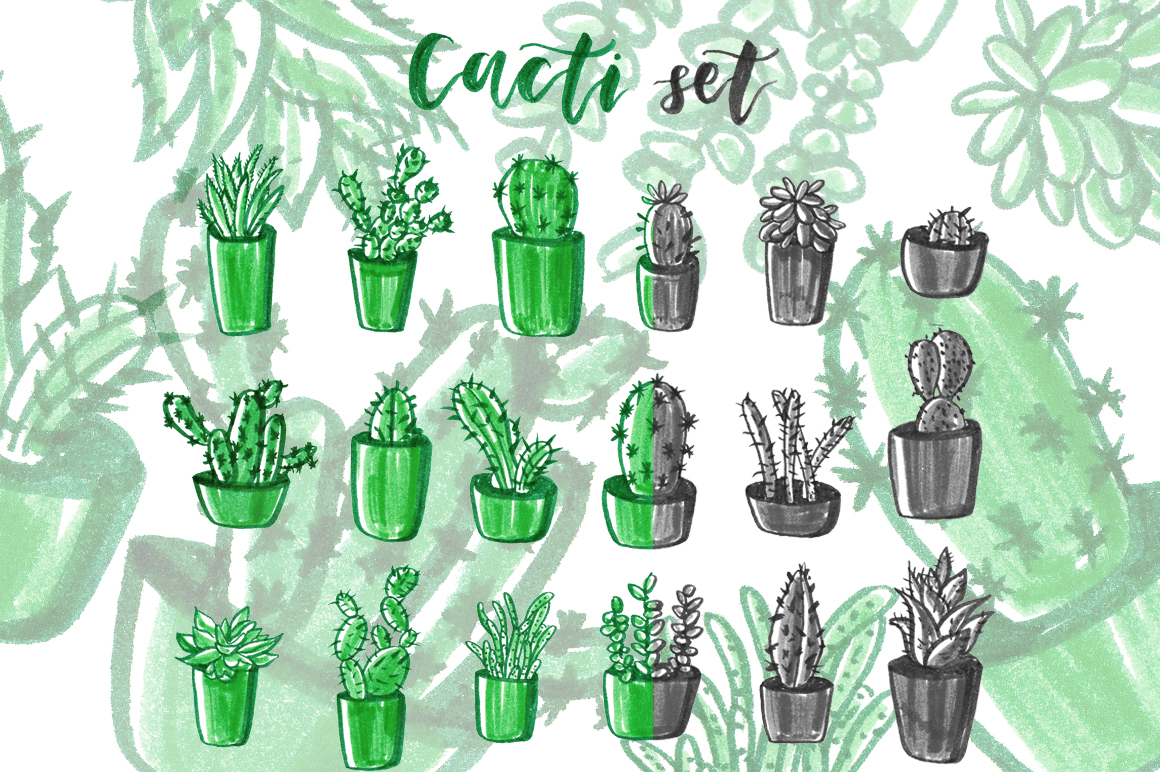 Download Free Cacti Hand Drawn Set Graphic By Alisared87 Creative Fabrica for Cricut Explore, Silhouette and other cutting machines.