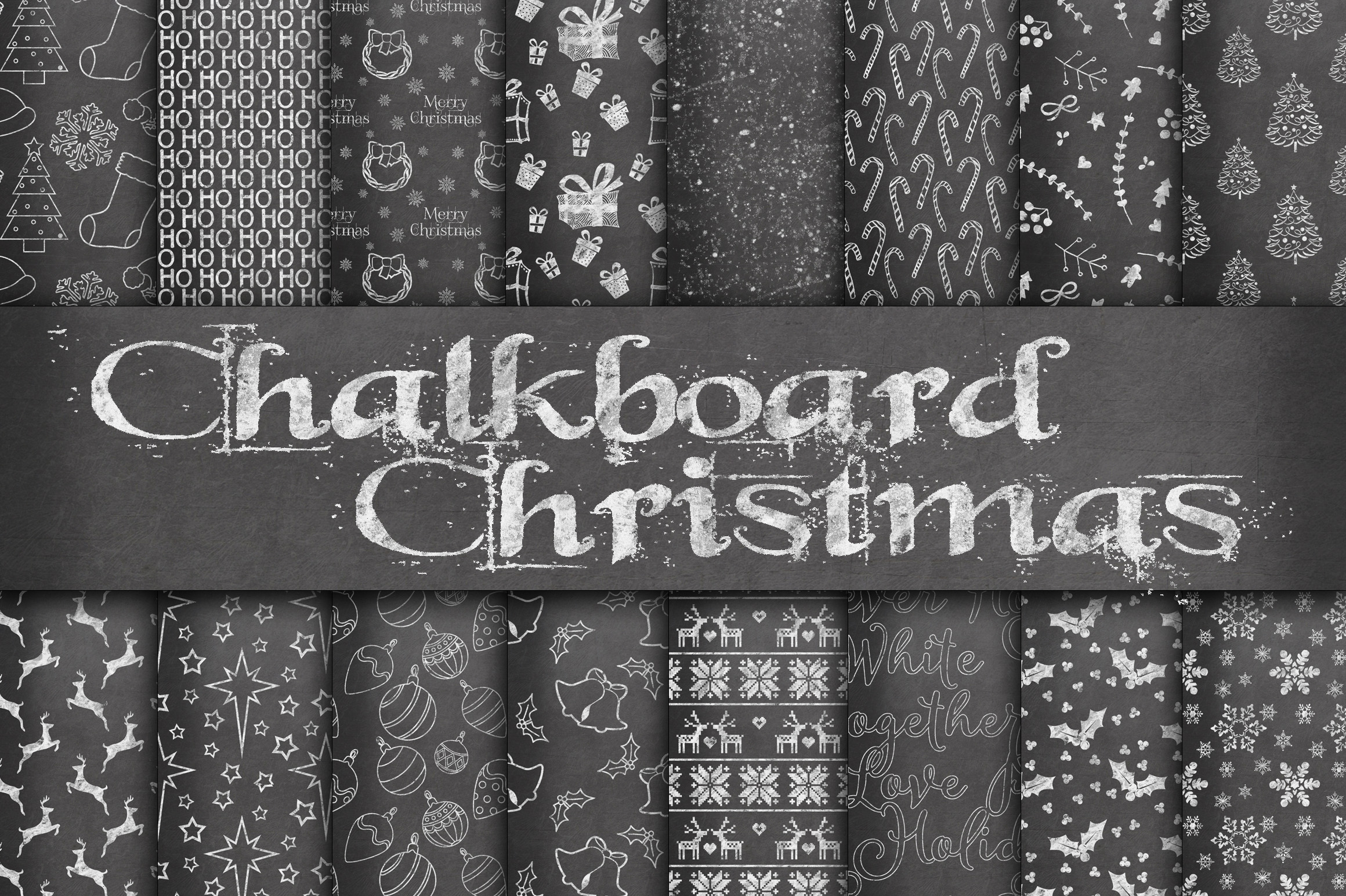 Print on Demand: Chalkboard Christmas Digital Paper Graphic Backgrounds By oldmarketdesigns