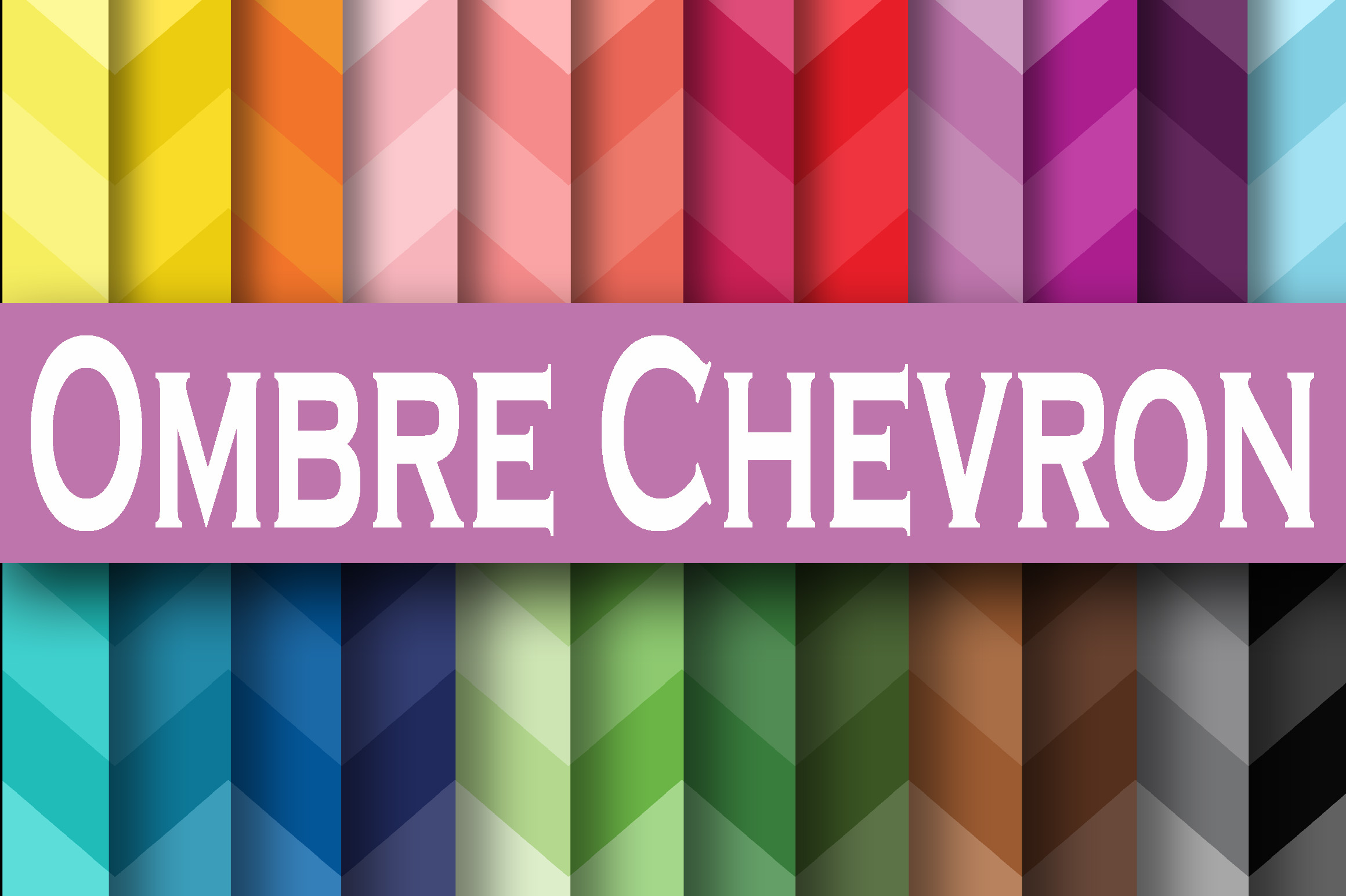 Print on Demand: Chevron Ombre Digital Paper Graphic Backgrounds By oldmarketdesigns