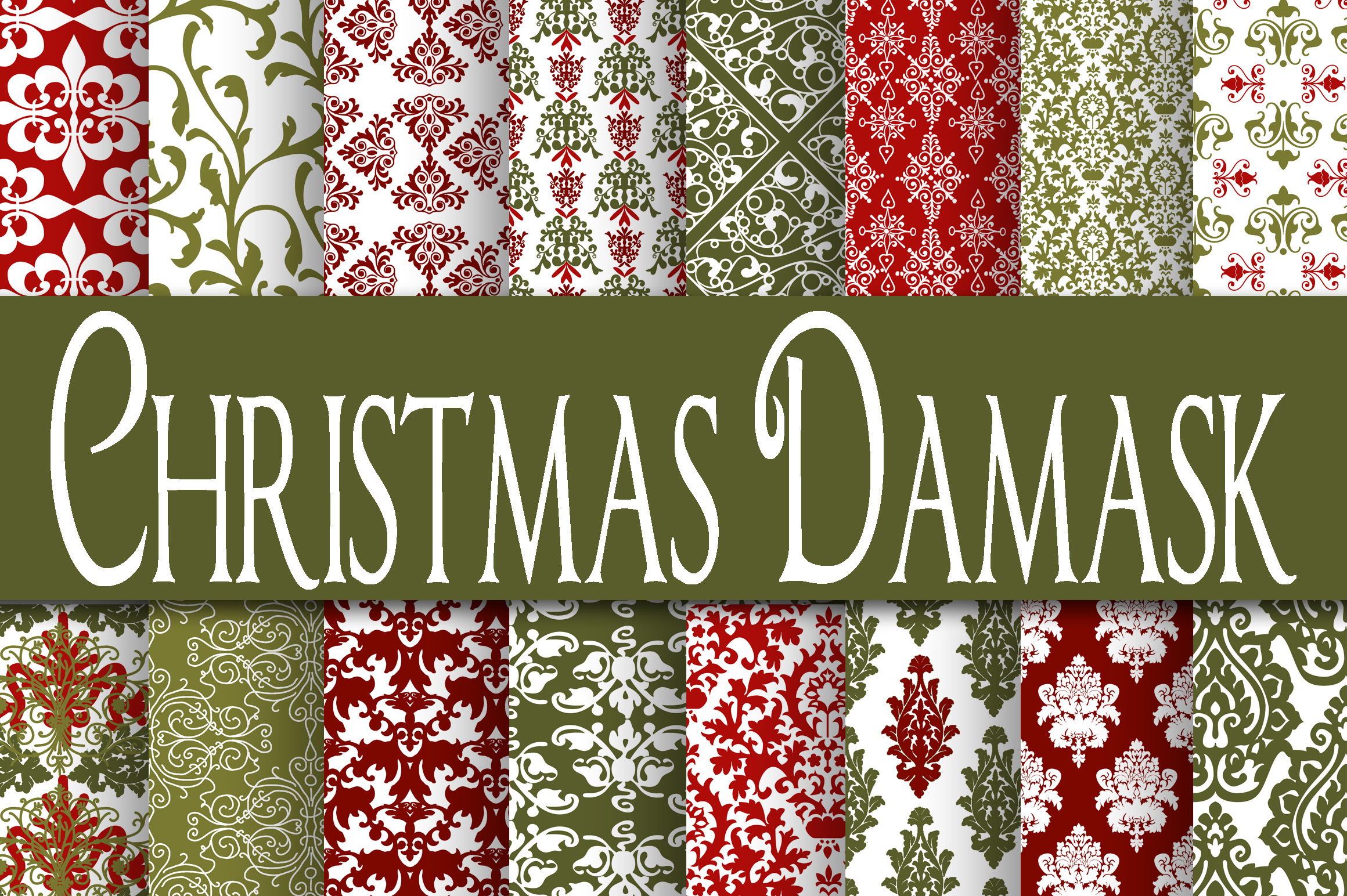 Christmas Damask Digital Paper Graphic By oldmarketdesigns