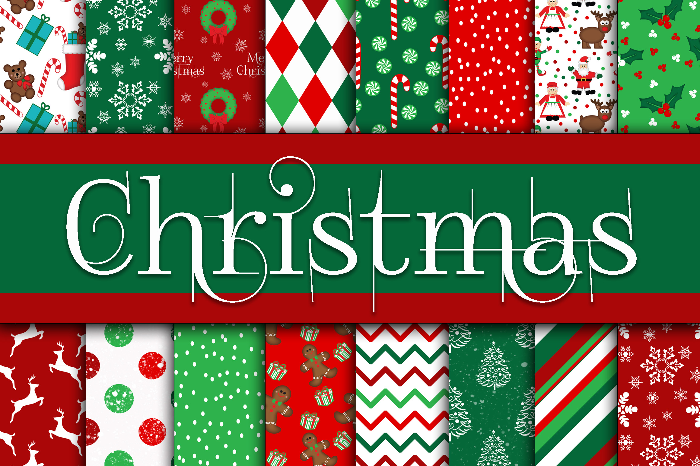 Print on Demand: Christmas Digital Paper Graphic Backgrounds By oldmarketdesigns