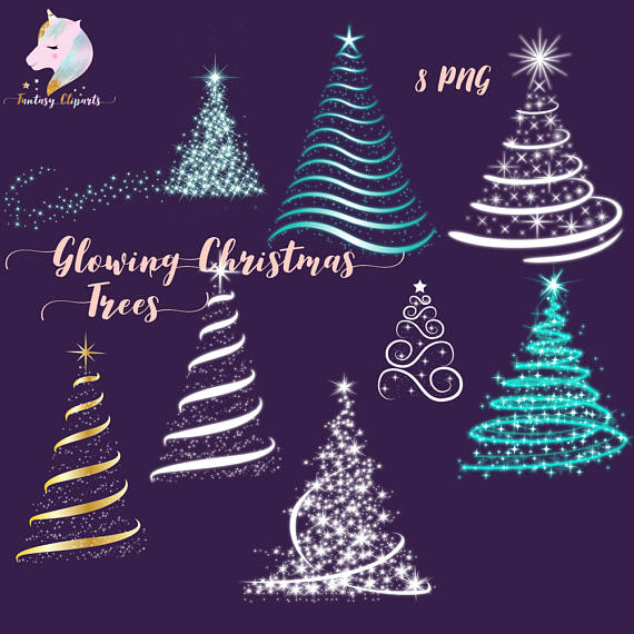 Print on Demand: Christmas Glowing Trees Graphic Illustrations By fantasycliparts