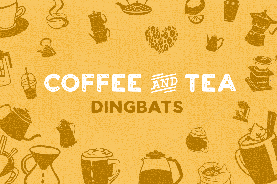 Print on Demand: Coffee & Tea Dingbat Font Dingbats Font By Creative Fabrica Fonts