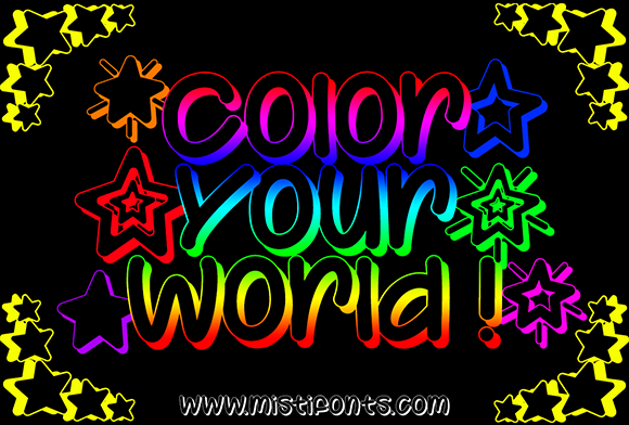 Print on Demand: Color Your World Display Font By Misti