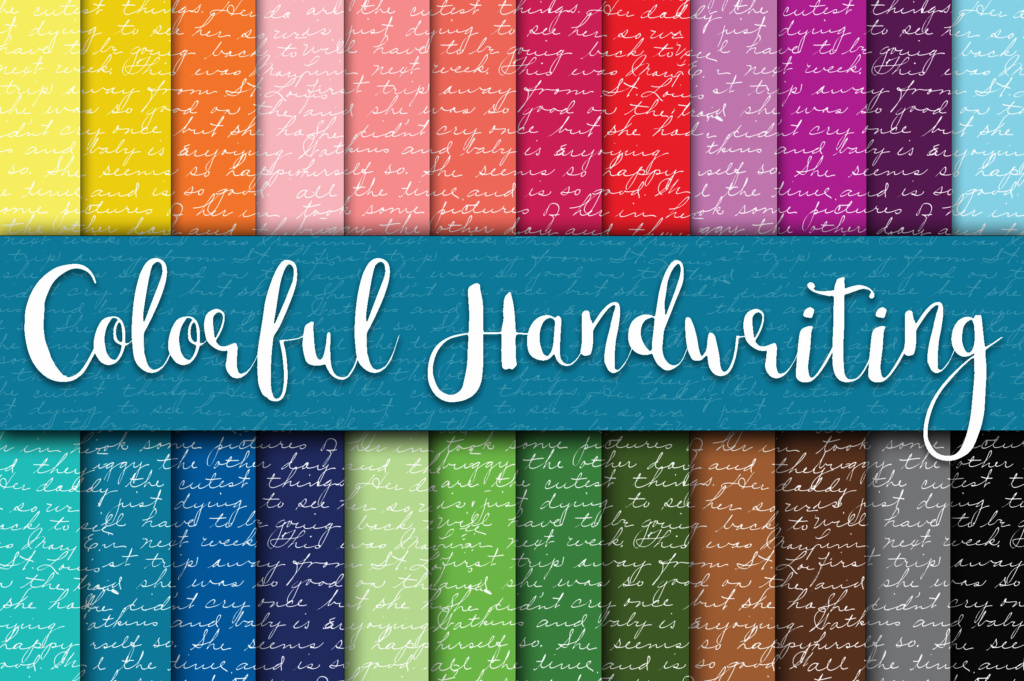 Colorful Handwriting Digital Paper Graphic By Oldmarketdesigns