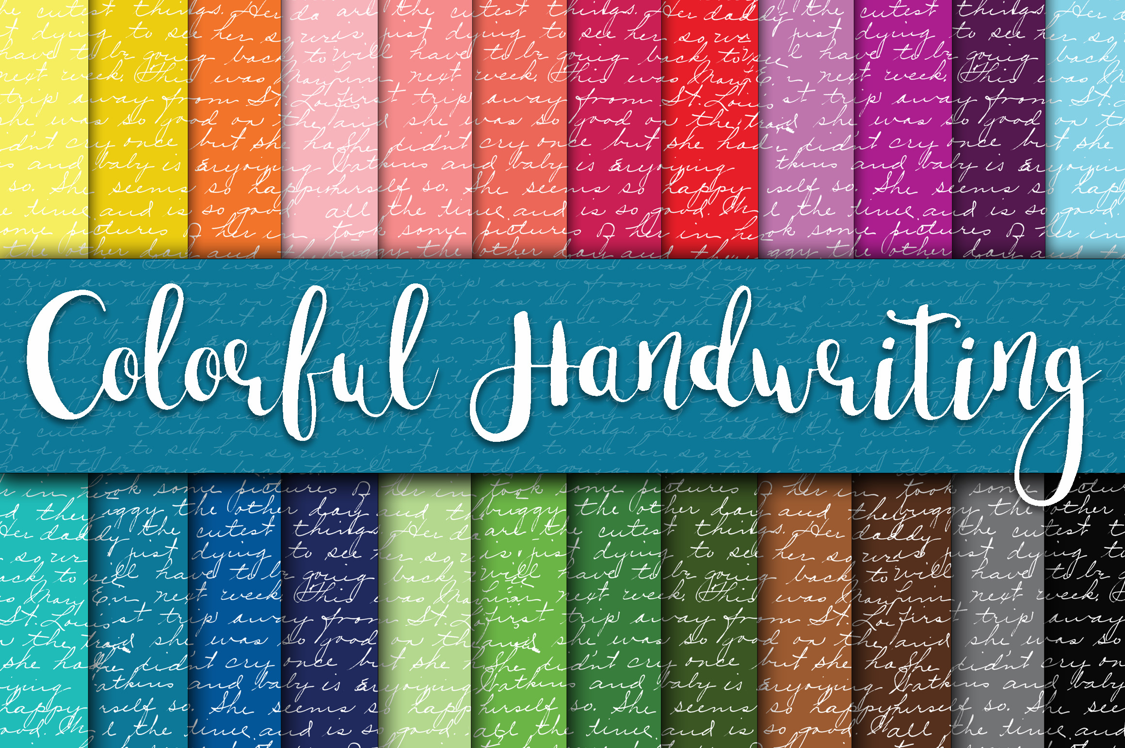 Colorful Handwriting Digital Paper Graphic Backgrounds By oldmarketdesigns - Image 1