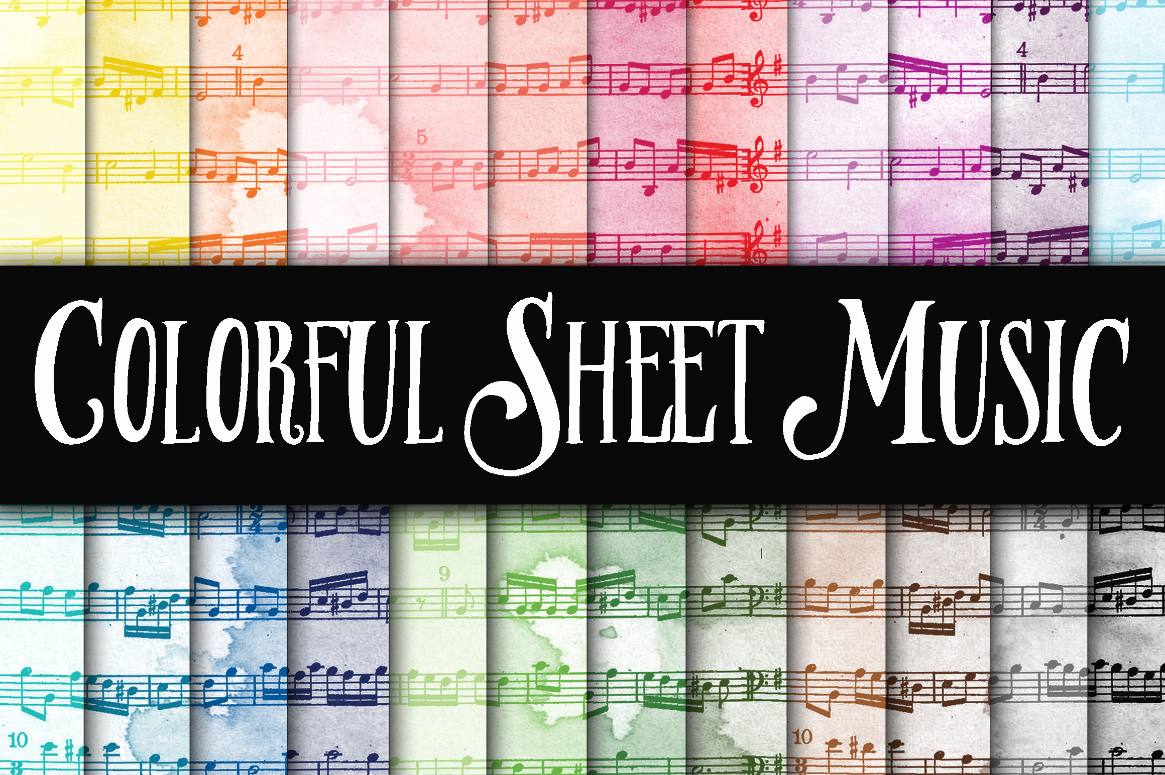 Print on Demand: Colorful Sheet Music Digital Paper Graphic Backgrounds By oldmarketdesigns