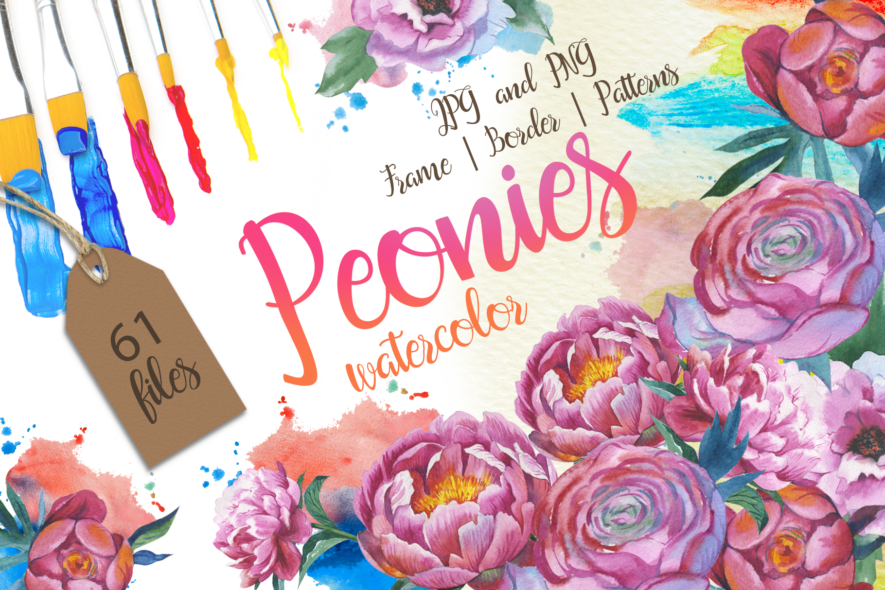 Print on Demand: Colorful Peonies  Watercolor Flower Set Graphic Illustrations By MyStocks