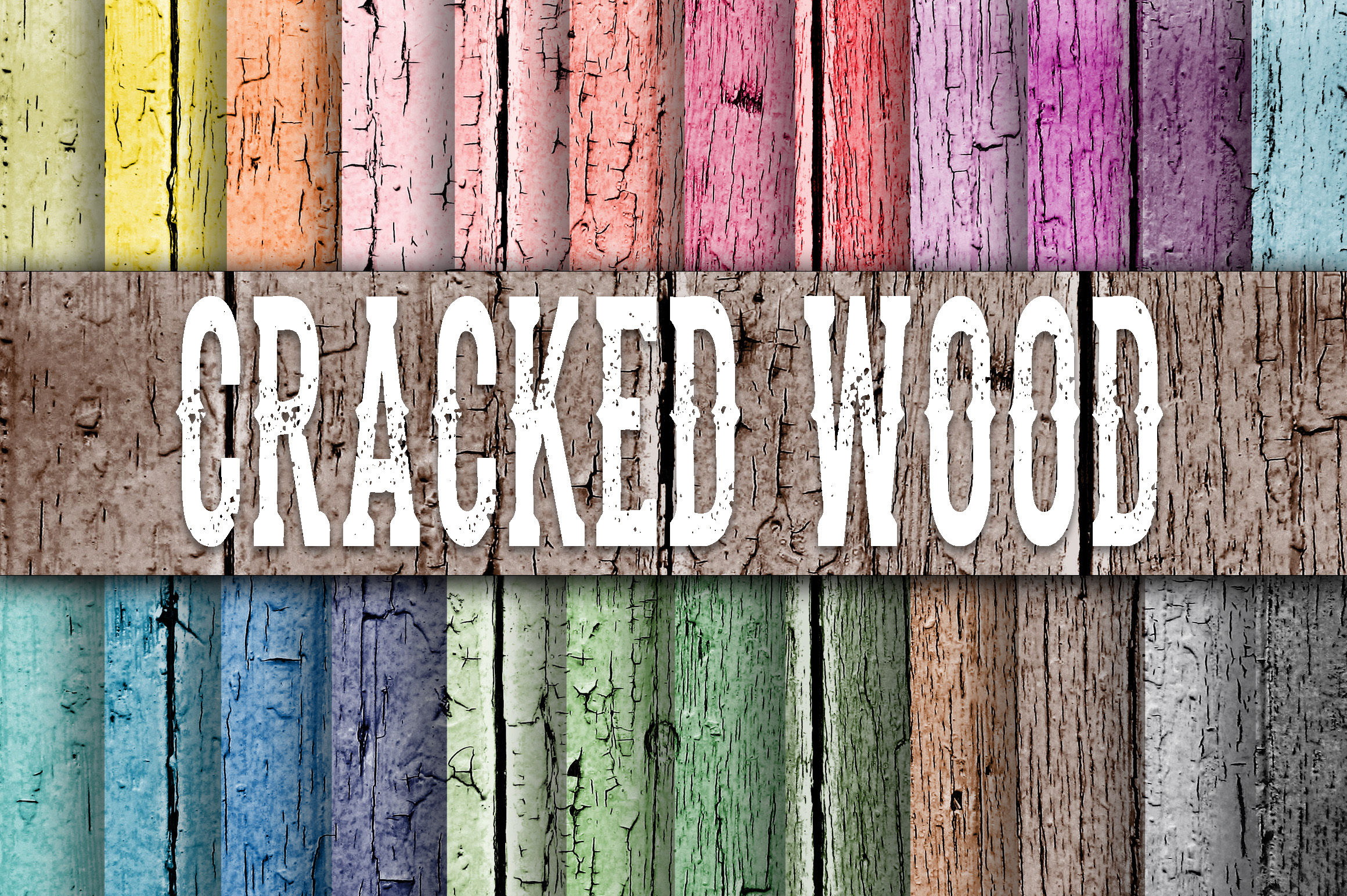 Print on Demand: Cracked Wood Fence Digital Paper Textures Graphic Backgrounds By oldmarketdesigns