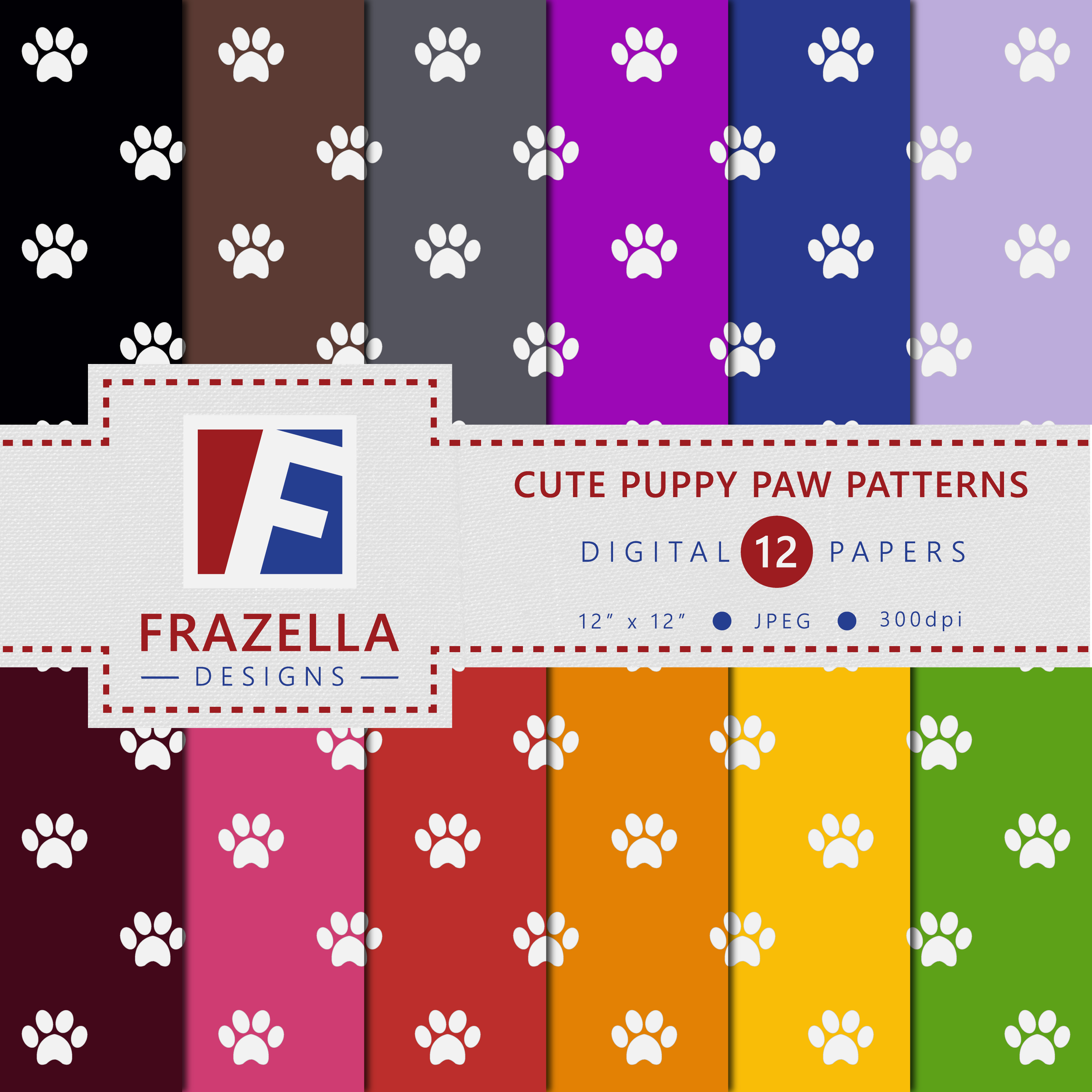 Print on Demand: Cute Puppy Paws Digital Paper Collection Graphic Patterns By Frazella Designs