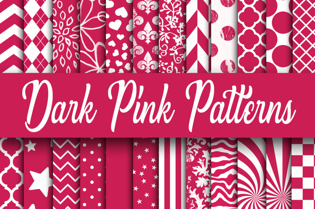 Download Free Dark Pink Patterns Digital Paper Graphic By Oldmarketdesigns for Cricut Explore, Silhouette and other cutting machines.