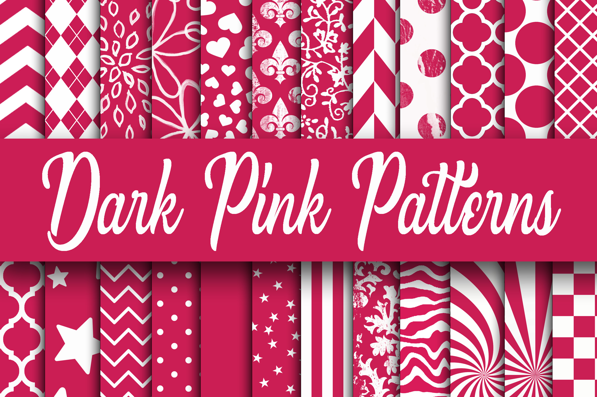 Print on Demand: Dark Pink Patterns Digital Paper Graphic Backgrounds By oldmarketdesigns