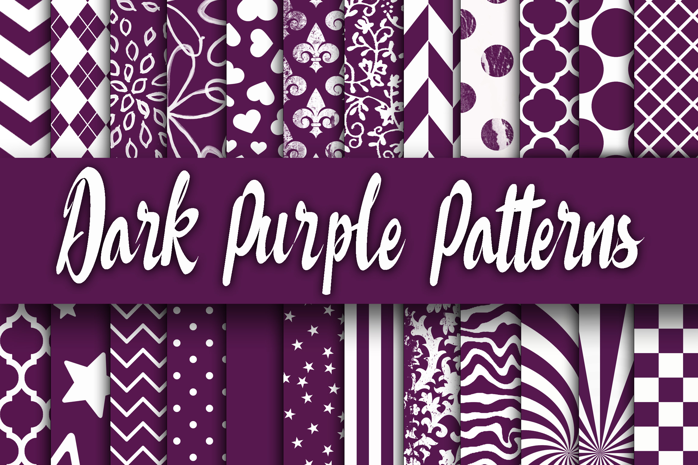 Dark Purple Patterns Digital Paper Graphic Backgrounds By oldmarketdesigns - Image 1
