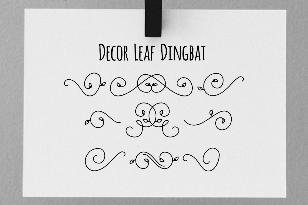 Print on Demand: Decor Leaf Dingbat Dingbats Font By LebahStudio