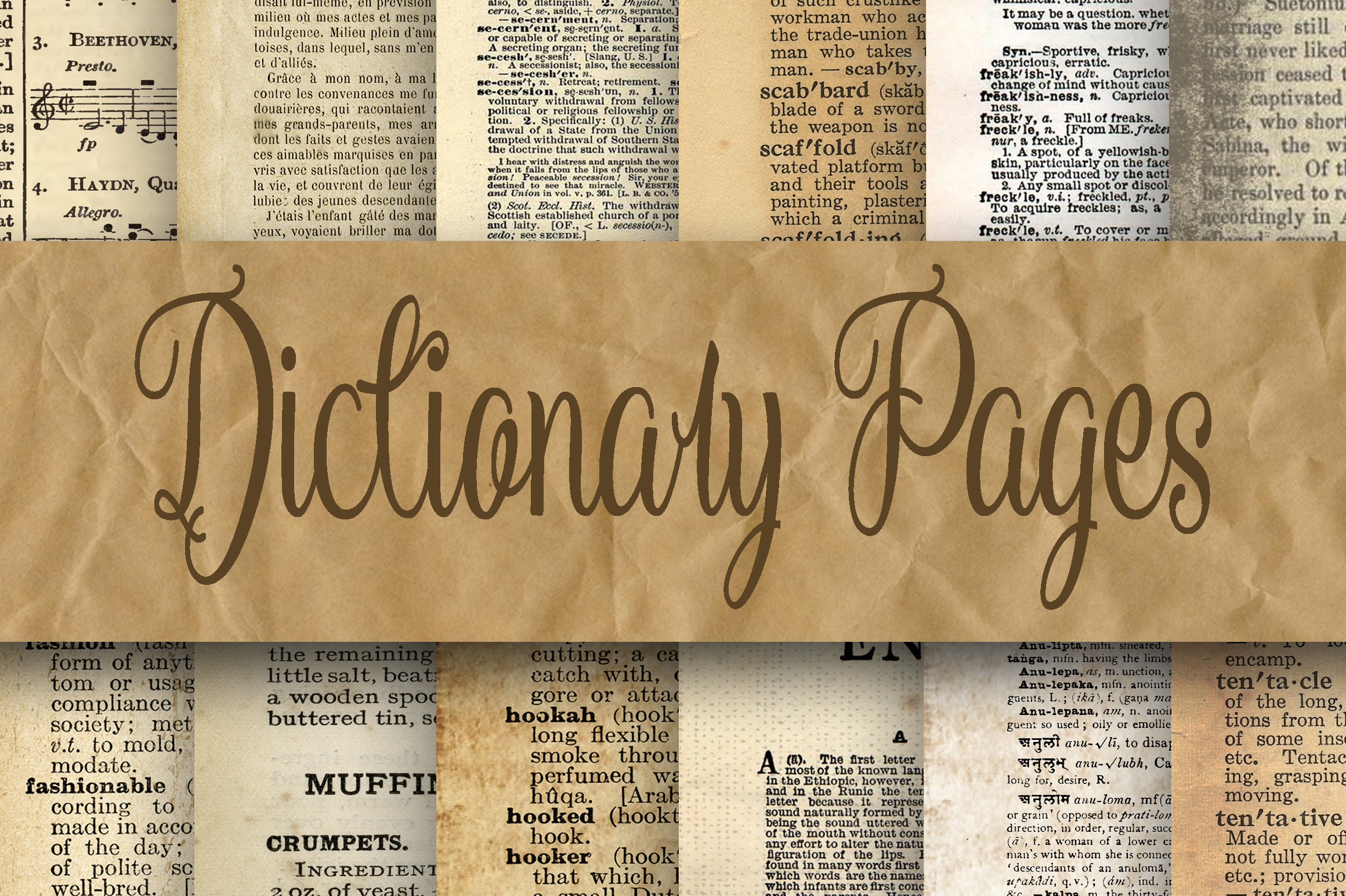 Dictionary Pages Digital Paper Graphic Backgrounds By oldmarketdesigns