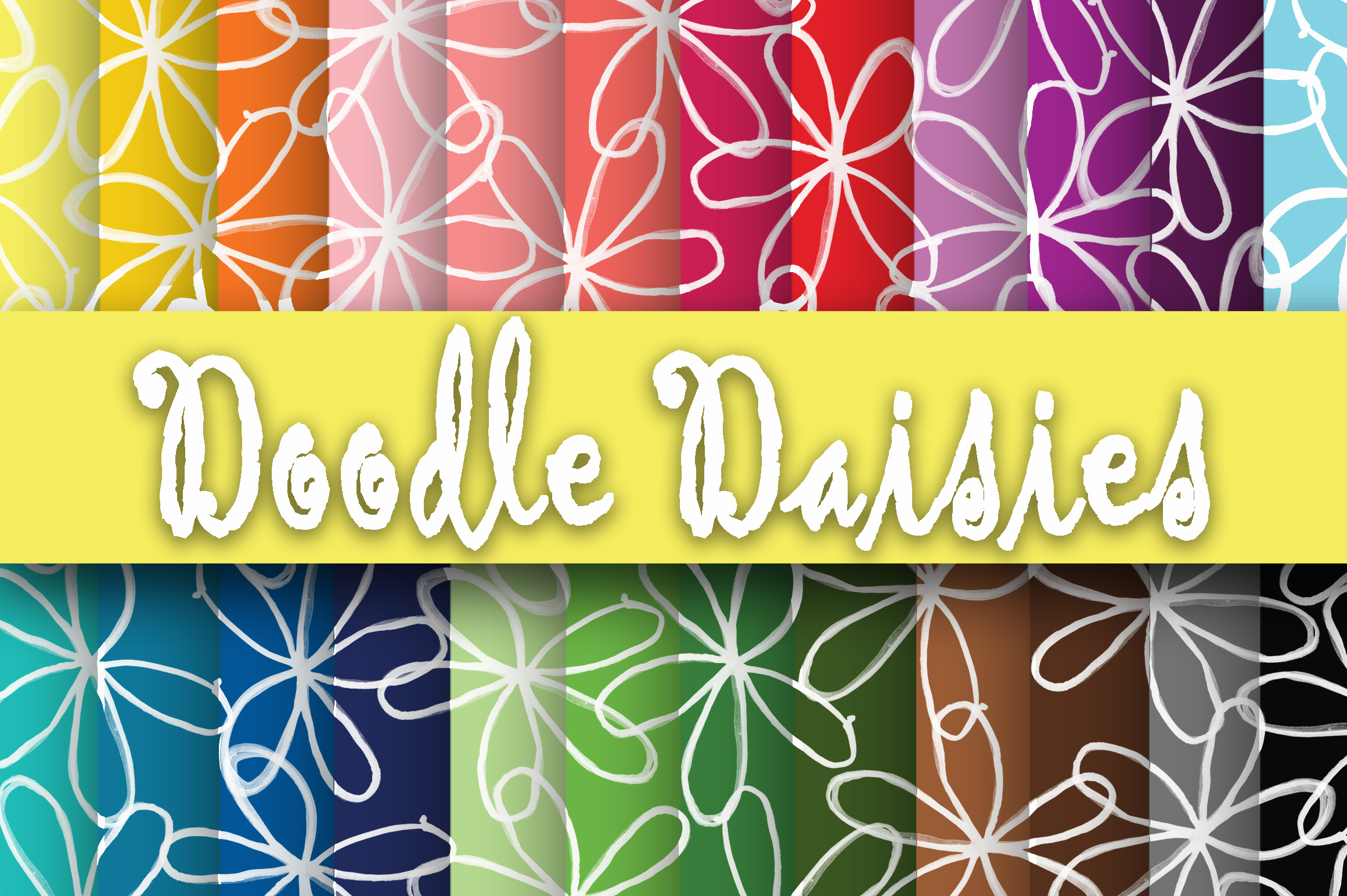 Doodle Daisies Digital Paper Graphic By oldmarketdesigns Image 1