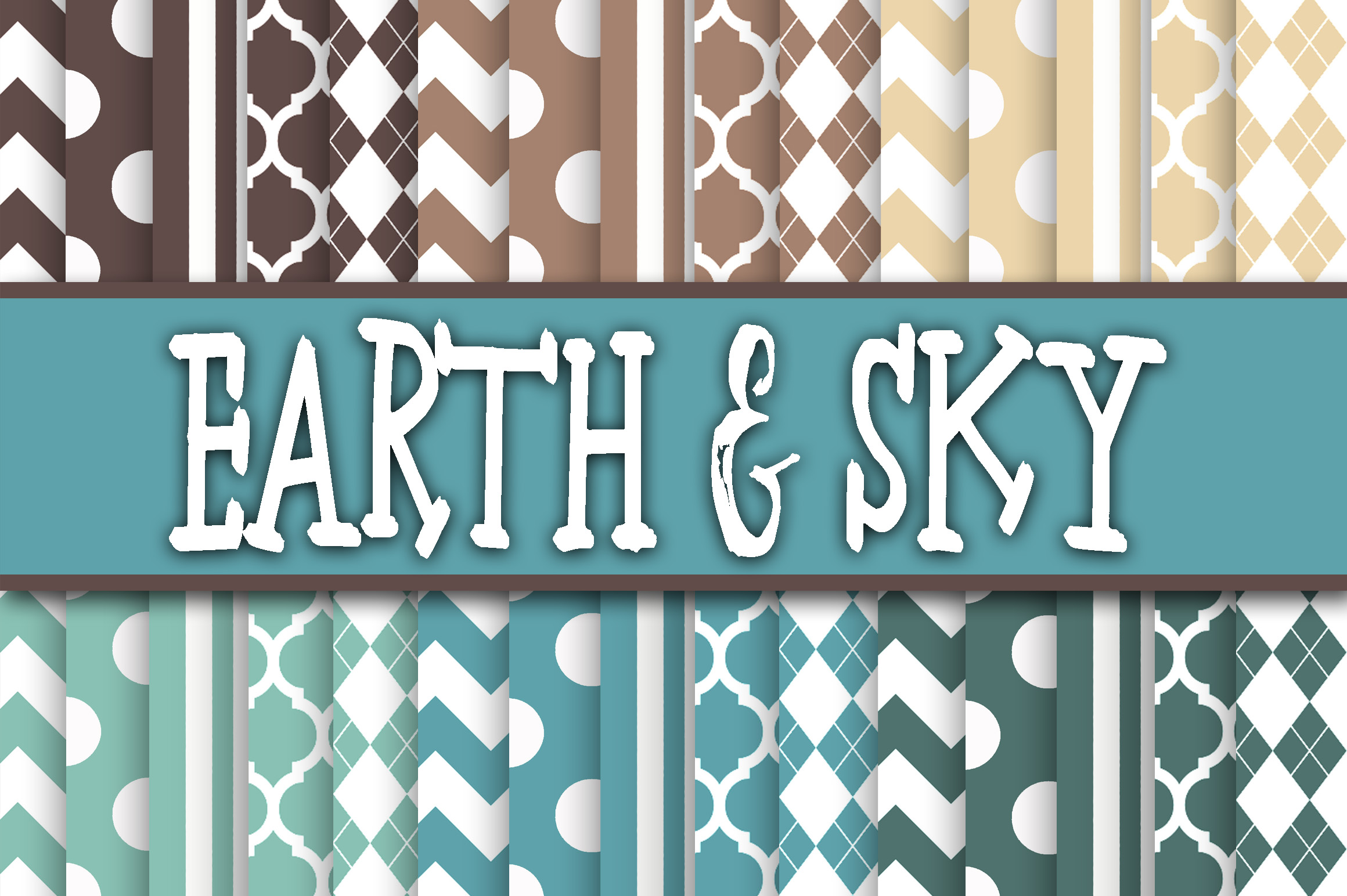 Print on Demand: Earth and Sky Blue and Brown Digital Papers Graphic Backgrounds By oldmarketdesigns
