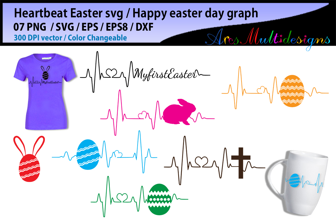 Print on Demand: Easter Heartbeat Graphic Crafts By Arcs Multidesigns