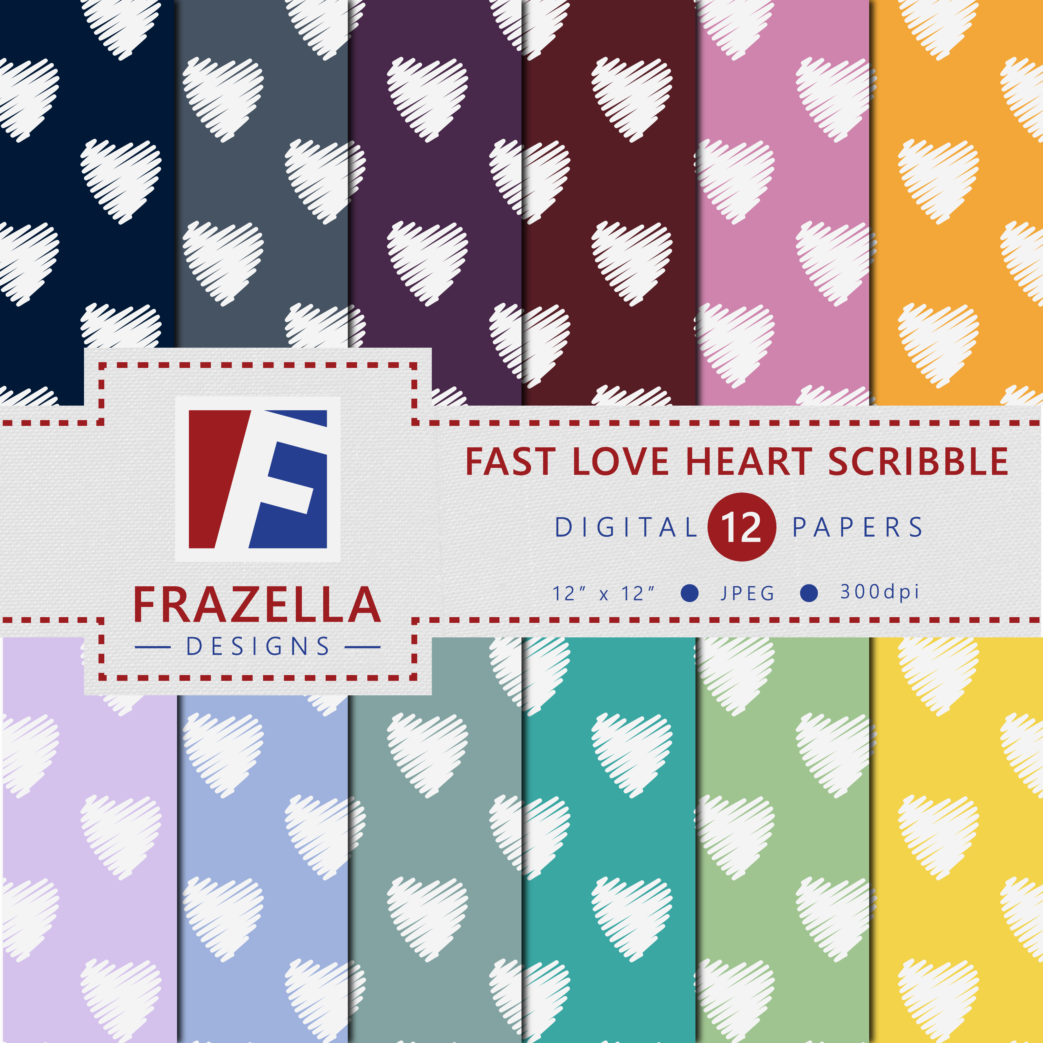 Print on Demand: Fast Love Heart Scribble Pattern Digital Paper Collection Graphic Patterns By Frazella Designs