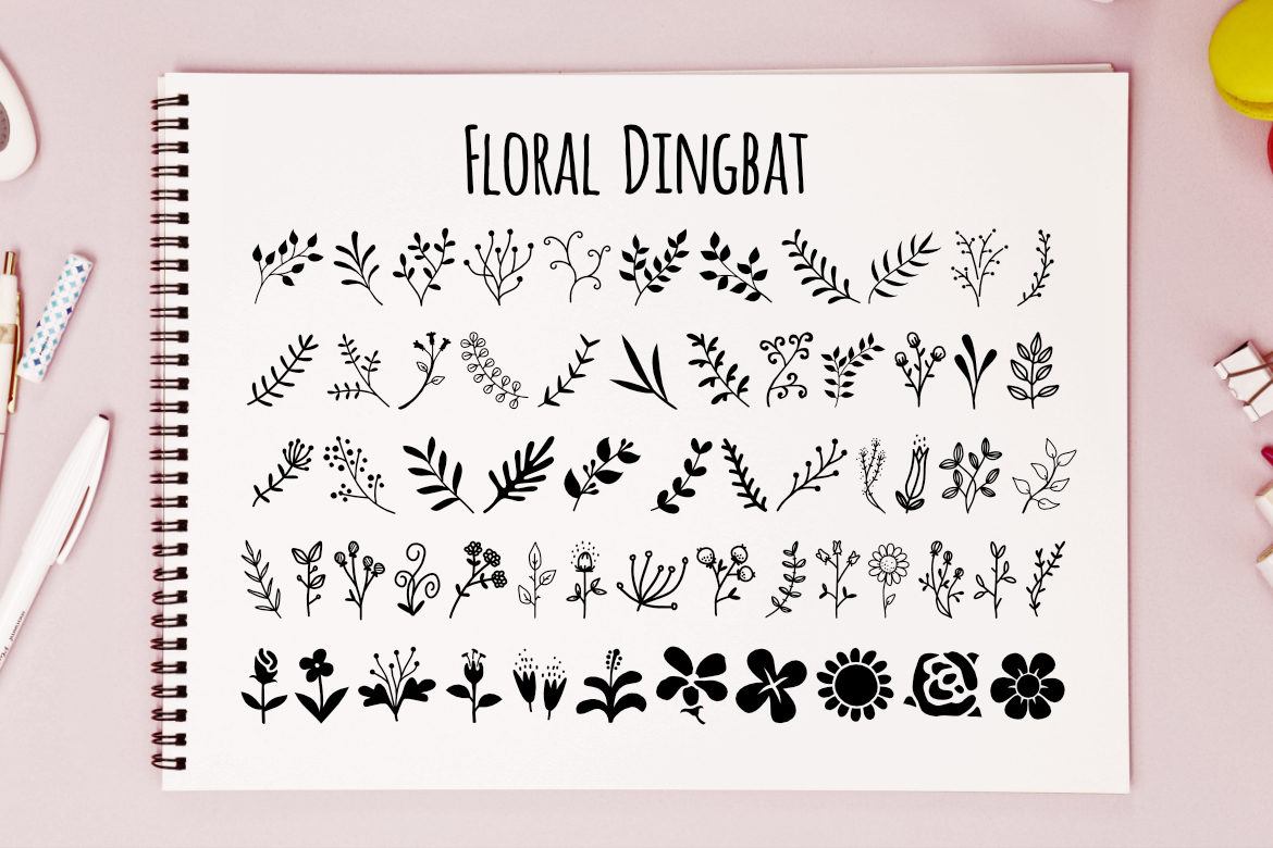 Print on Demand: Floral Dingbat Dingbats Font By LebahStudio