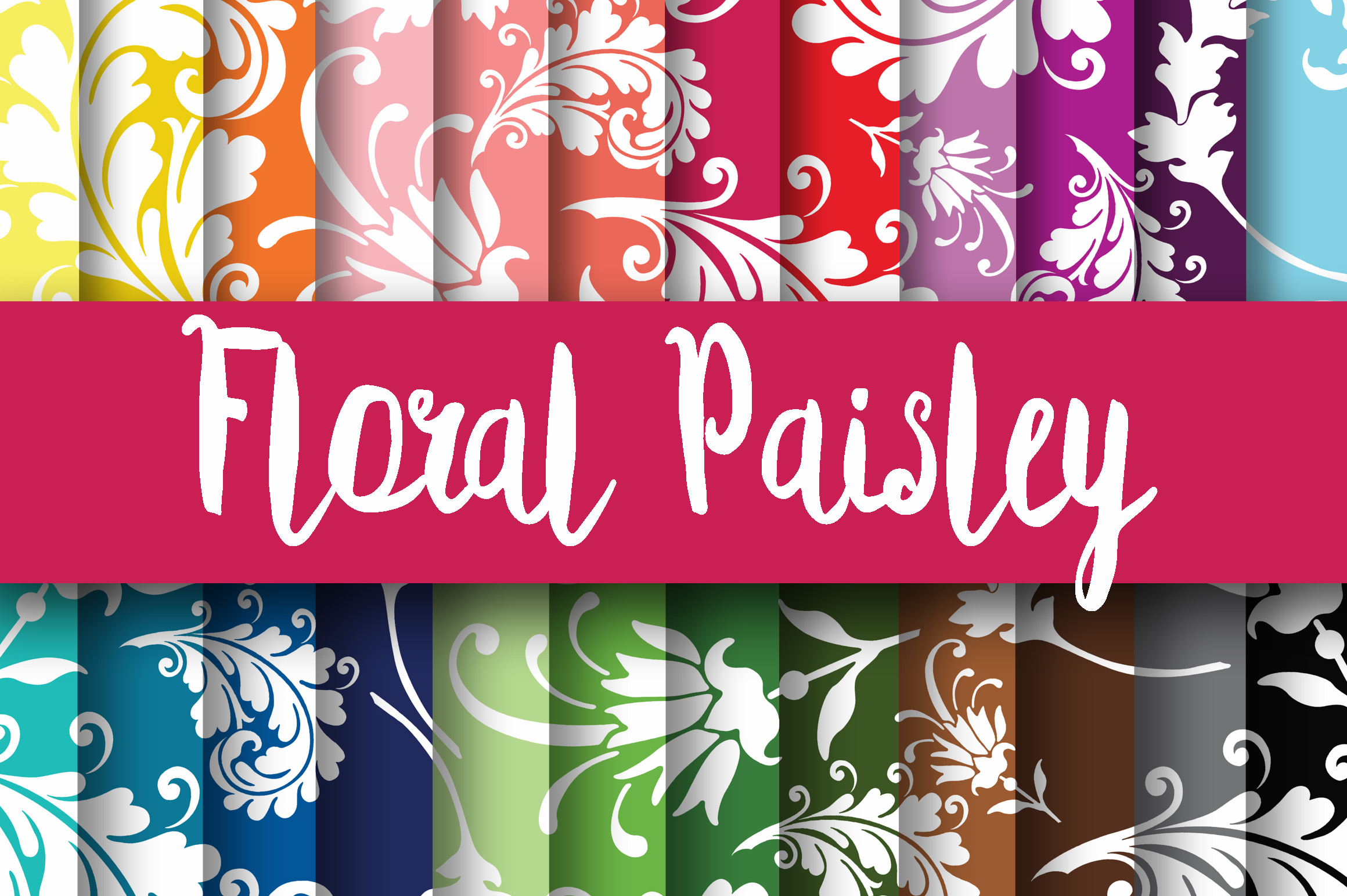 Print on Demand: Floral Paisley Digital Paper Graphic Backgrounds By oldmarketdesigns